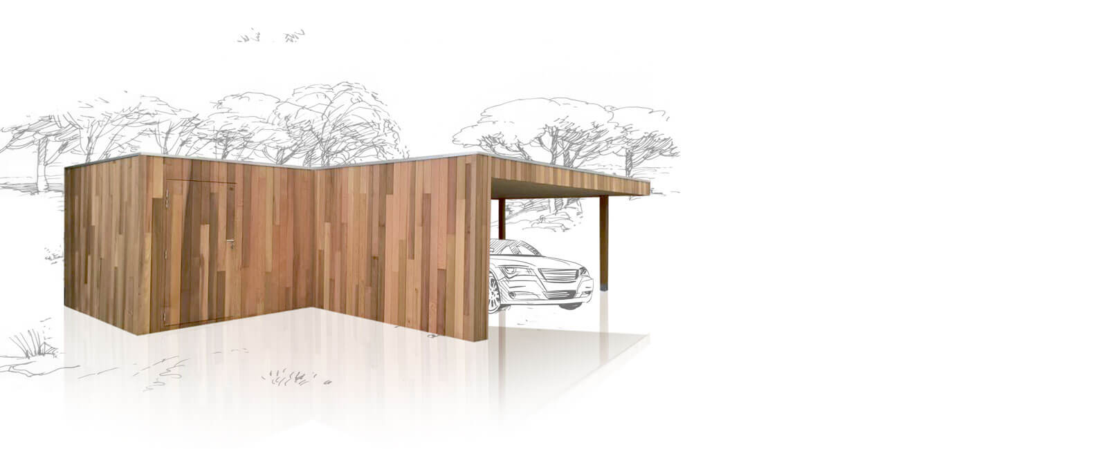 Modern carport in a luxurious cedar finish. Our products.